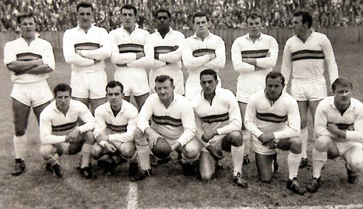 Idwal Fisher, pictured back row, second from the left, in September 1964 before Northern's Yorkshire Cup clash against Huddersfield at Odsal