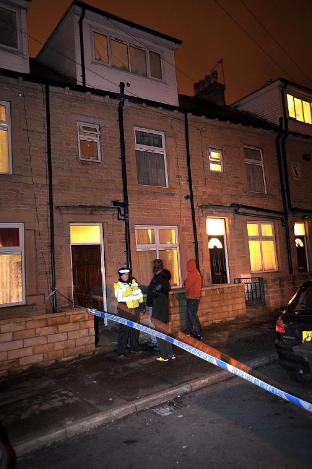 police cordon outside the house after the fire incident in Newport ...