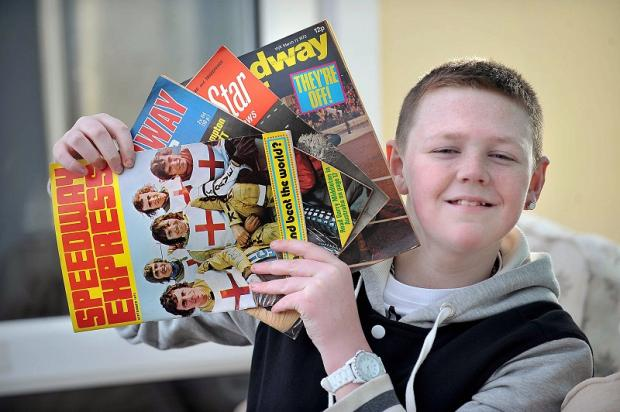 Conor Murphy with some of the Speedway magazines