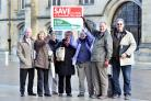 Greenhill Action Group members outside City Hall before the start of the public inquiry