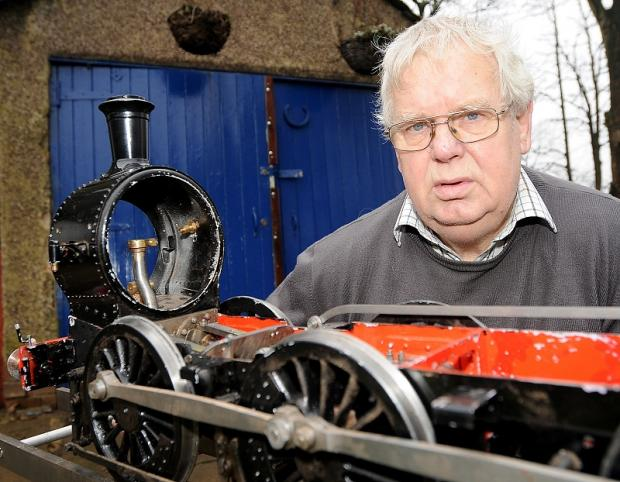 Gerald Smith with the remains of a train