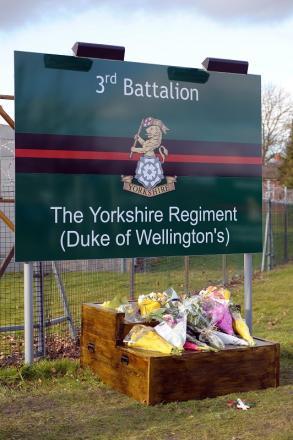 Floral tributes outside the Yorkshire Regiment's Warminster barracks