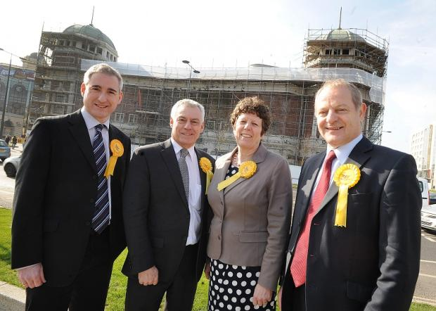 MP Greg Mulholland, MP David West, Councillor Jeanette Sunderland and MP Ian Swales at The Odeon