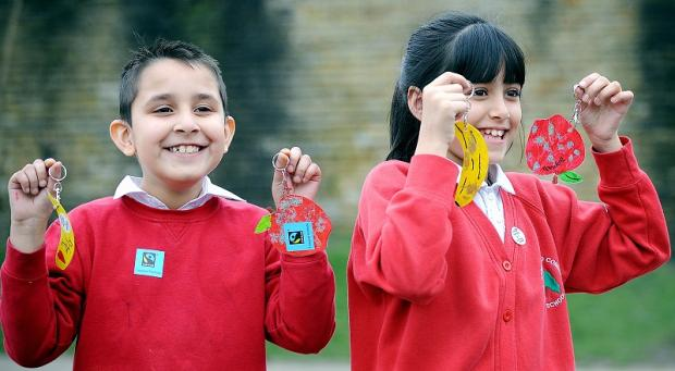Adam Hussain and Aaliyah Khan, of Springwood Primary, with their keyrings