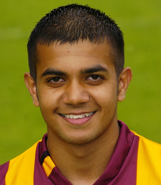 Inderjeet Aujla as a teenager with Bradford City