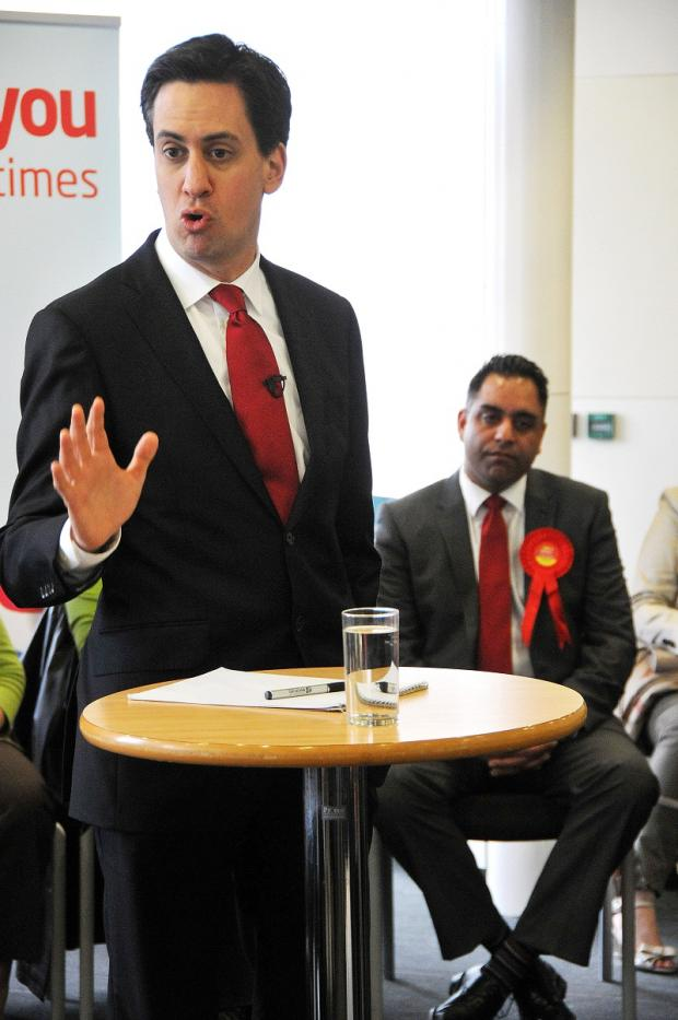 Labour leader Ed Milliband in Bradford today with candidate Imran Hussain