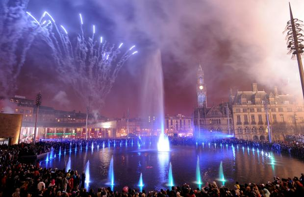 The firework and coloured fountain display in the finale to a day of entertainment
