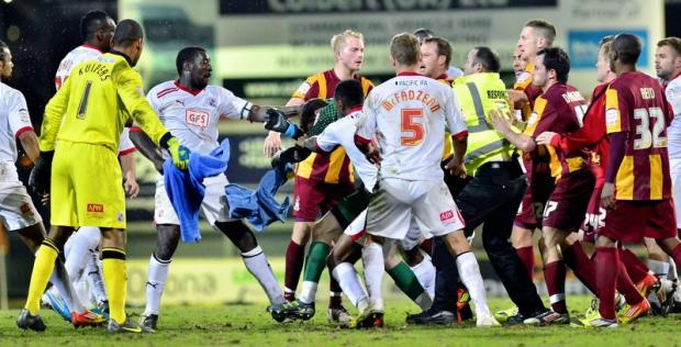 Tuesday night's brawl could be costly for Bradford City and Crawley