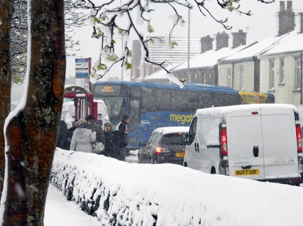 Bradford Telegraph and Argus: A Megabus skidded across Halifax Road at Buttershaw. Picture sent in by reader Rosalind Denham, from Woodside