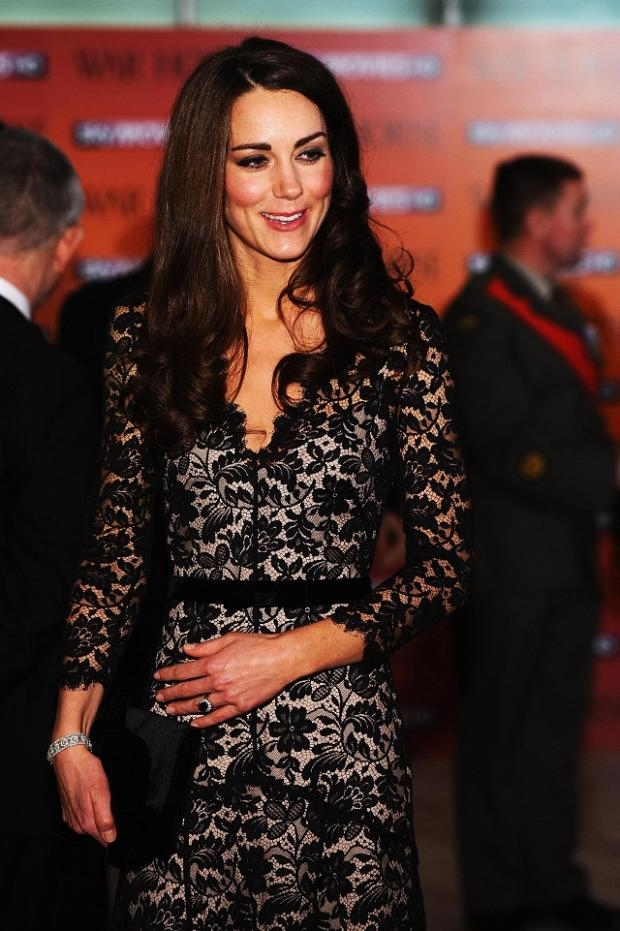Kate Middleton wearing a black Temperley gown