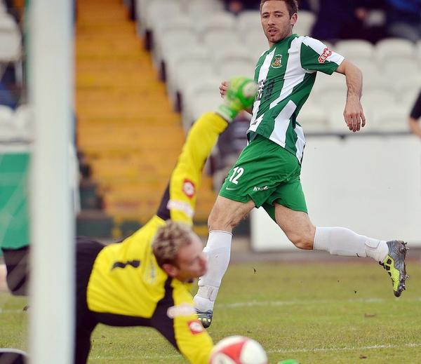 Tom Greaves had Avenue's best chance of the night but was denied by the Northwich goalkeeper