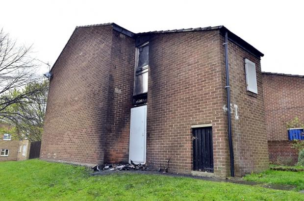 The scene of the arson attack