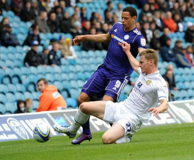 Leeds United defender Tom Lees, right, has broken his nose for the fourth time this year