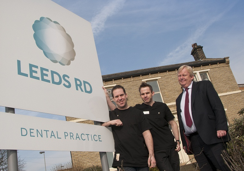 John Sinclair and Matt Parrot, of Leeds Road Dental, and Steve Midgley, from Lloyds TSB Commercial