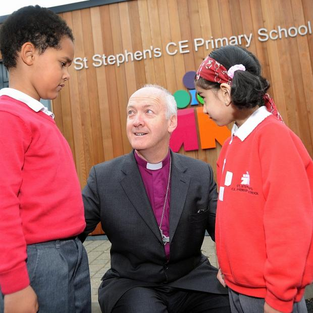 The Bishop of Bradford met St Stephen's Primary pupils Michael Groborz-Manu and Aniya Mulla when he opened the school's new facilities