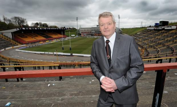 Peter Hood pictured at Odsal last month after launching the Bulls' 'Quest for Survival' appeal