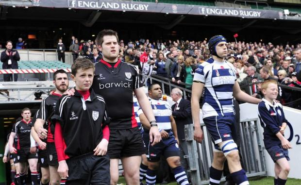 Ilkley captain Stuart Vincent leads out his team at Twickenham
