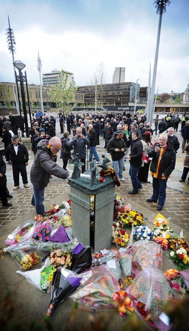 Crowds at today's Bradford City Fire Memorial service in Centenary Square