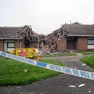 The scene in Gateshead where a police officer suffered serious burns to his face in a suspected gas blast which injured five others