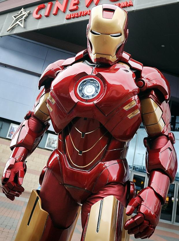 Mark Pearson's Iron Man suit worn by his friend Darren Higgins in Bradford earlier this year