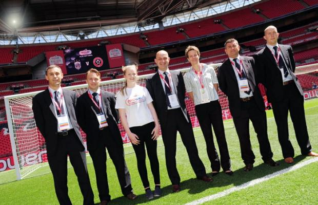 Bethan Smith with referee Sasa Ihringova and officials at Wembley