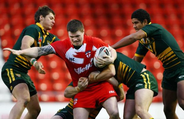 Bulls youngster John Bateman in action for England Academy against their Australian counterparts during a previous encounter
