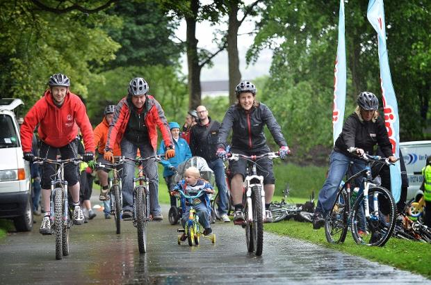 Families enjoy the biking action at last weekend's Cycle Fest event in Roberts Park, Saltaire