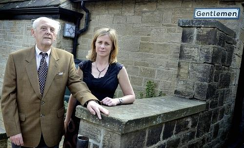 INVESTIGATION: Councillors Roger L'Amie and Debbie Davies outside Baildon public toilets, in Baildon