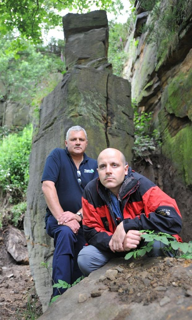Ian Lyons  and Mark Scrimshaw in front of the rock