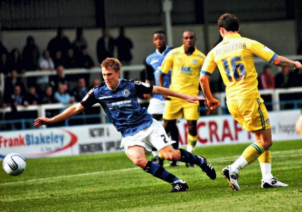 Stephen Darby in action for Rochdale against Colchester – Picture: Manchester Evening News