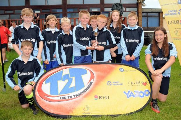 The jubilant Drighlington Primary School tag rugby team