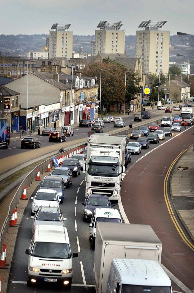 Slow-moving traffic heading south from Bradford on Manchester Road