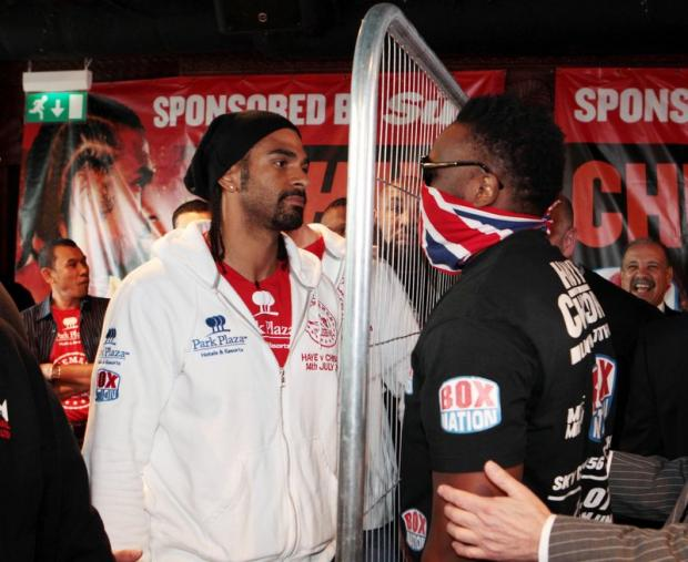 A metal fence separates Haye and Chisora ahead of tonight's controversial fight