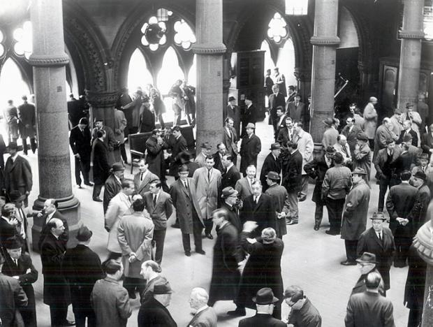 Wool business traders in the Wool Exchange in the 1960s