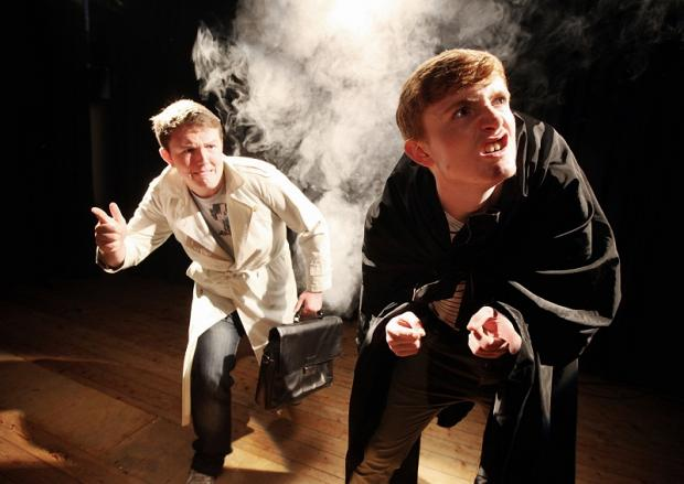 Alex McIntyra and Tom Lodge acting out a scene from Young Frankenstein at Ermysted's Grammar School