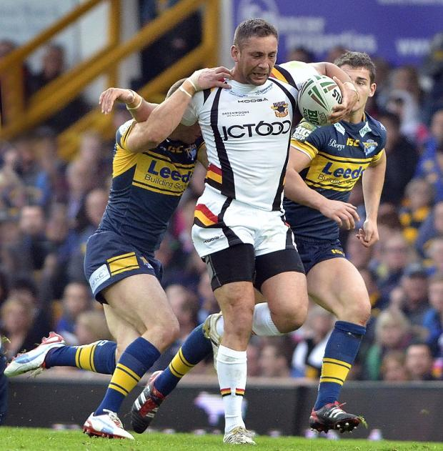 Olivier Elima powers forward during last night's derby clash at Headingley