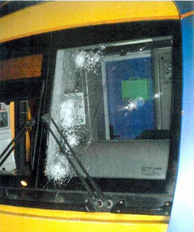 One of the smashed windscreens of a train on the Airedale line