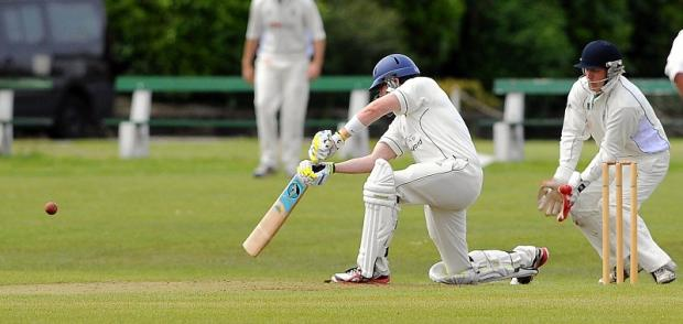 Adam Waite batting for Pudsey St Lawrence against Undercliffe