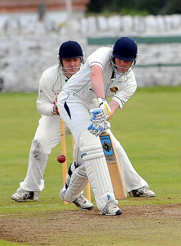 Mark Robertshaw at the crease for Pudsey St Lawrence against Undercliffe