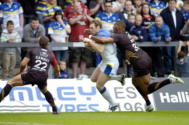 Karl Pryce in defence mode for the Bulls