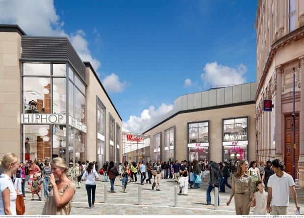 An artist's impression of Westfield's proposed Broadway scheme for Bradford