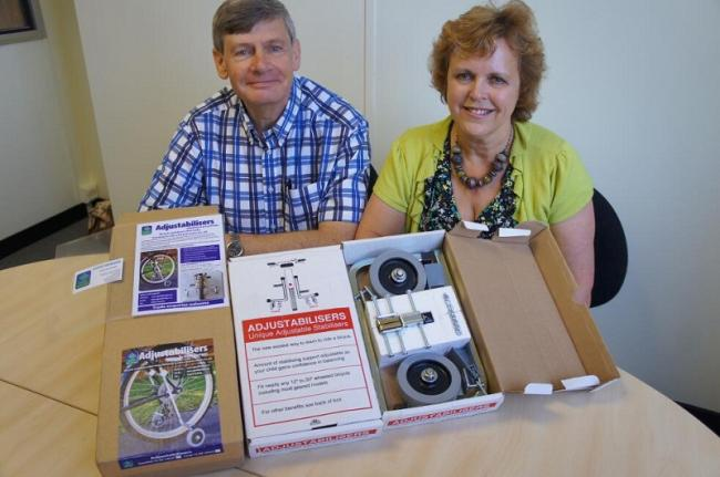 Val and James Muff with the Adjustabilisers stabilisers, which help people with disabilities to ride a bike