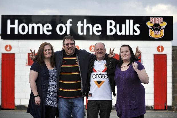 Bradford Bulls fans at Odsal stadium (from left) Victoria and Karl Kittsen, Tony Tudor and Claire Butterfield, who hailed the 'rugby league family' for helping the club