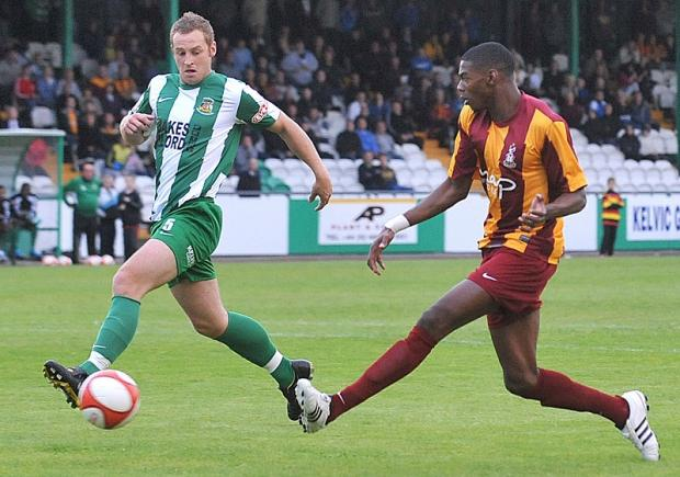 Nialle Rodney scores for City against Avenue in last year's Tom Banks Memorial Trophy