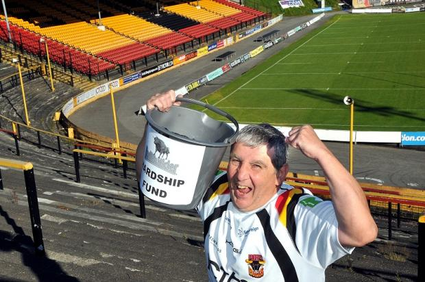 Paul Butterworth has been collecting hardship funds at Odsal stadium