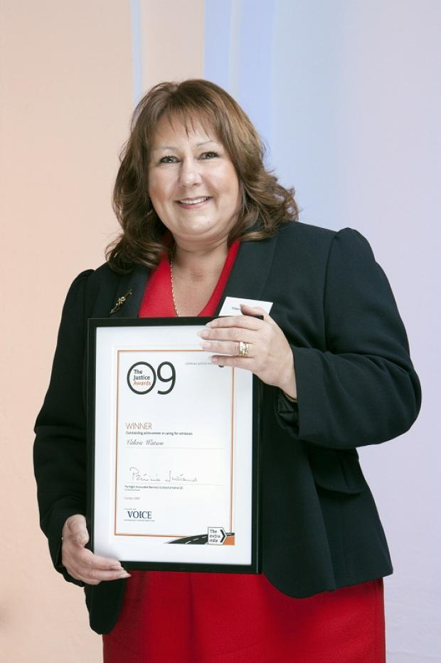Valerie Watson pictured in 2009 with her national Criminal Justice Award
