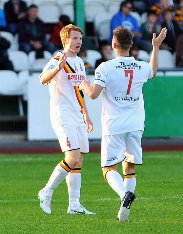 Avenue duo Rob O'Brien and Richard Marshall celebrate a goal