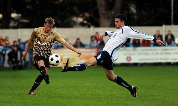 Stephen Darby, pictured left playing in City's pre-season game at Guiseley, returns to Notts County tomorrow to face his old club