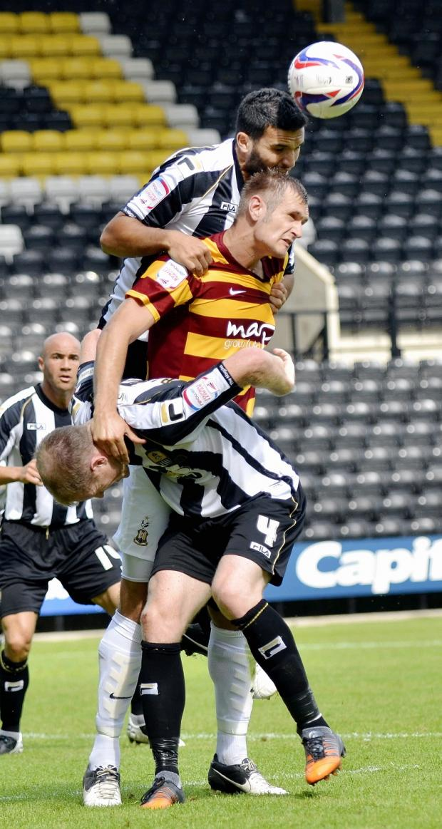 City match-winner James Hanson in action at Notts County