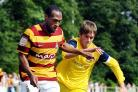 Kyel Reid in pre-season action for City